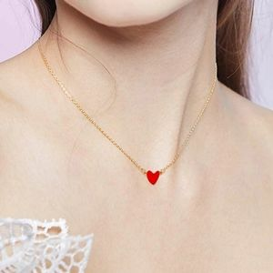 Cute gold dainty red heart necklace